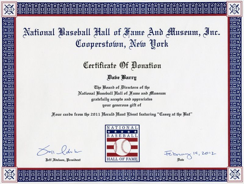 20120222 - Baseball Hall of Fame Donor Certificate - Dave Barry.tif